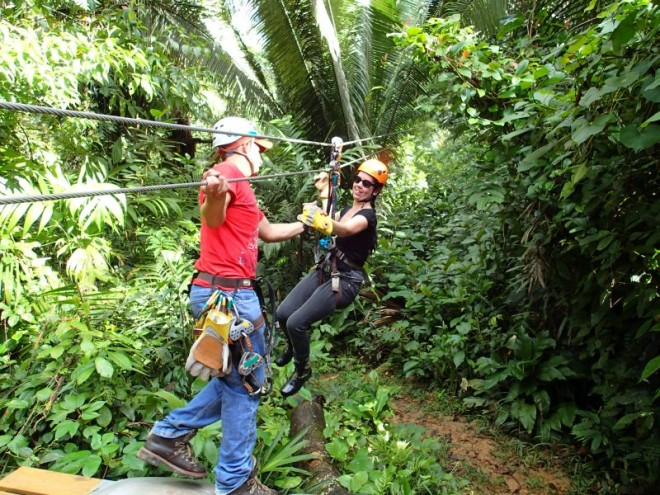 Zip lining in the trees